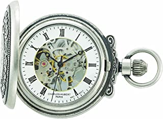 Charles-Hubert, Paris 3865-S Classic Collection Antiqued Finish Hunter Case Mechanical Pocket Watch