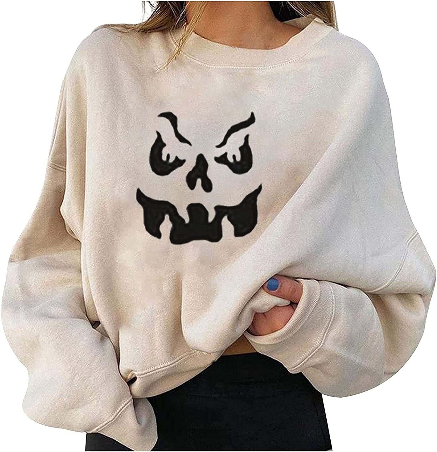 Graphic Sweatshirts Large special price !! for Women Funny Financial sales sale Ghost Printed Casual Lo Face