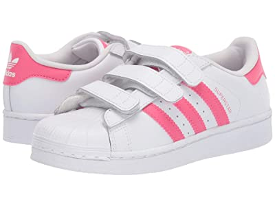 adidas Originals Kids Superstar C (Little Kid) (White/Real Pink) Girls Shoes