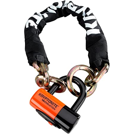 Kryptonite New York Cinch Ring Security Chain (12mm x 75cm) withEVS4 Disc 14mm Shackle