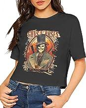 BobbyElliott Guns N' Roses Woman'S Short Sleeve T-Shirt Casual Basic Soft Crop Top Tees