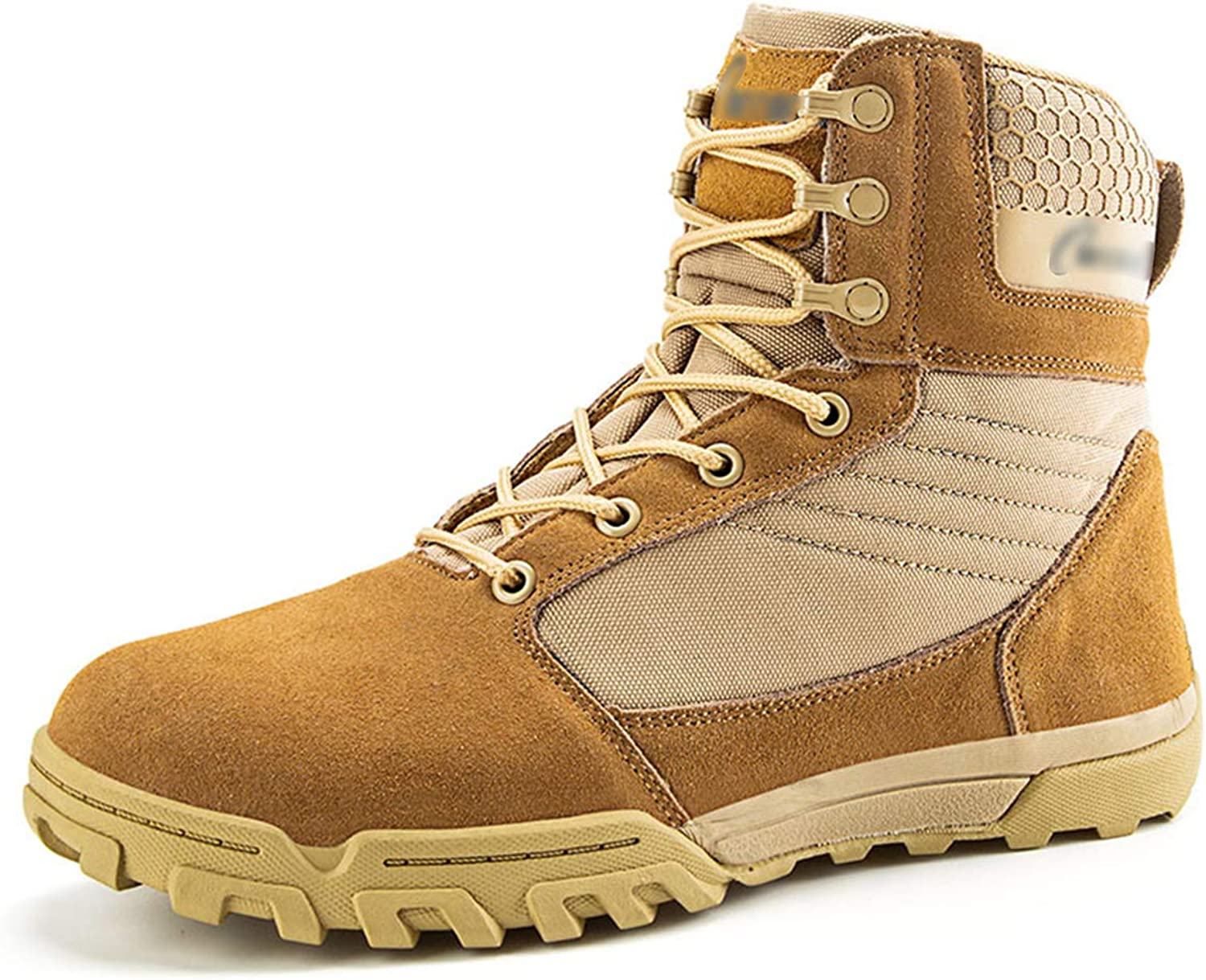 HNGLXQ Combat Boots G-27 Leather Side Zip Army Tactical Boots Delta Military Work Army shoes Safety Ankle Boots Breathable Commando Outdoor Desert Tactical Military Patrol Boots,Beige-EU43