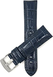 Mens Leather Watch Band Strap - Alligator Pattern - with or Without Stitch - 5 Colors - 18mm to 38mm (Most Sizes Also Come in Extra Long XL)
