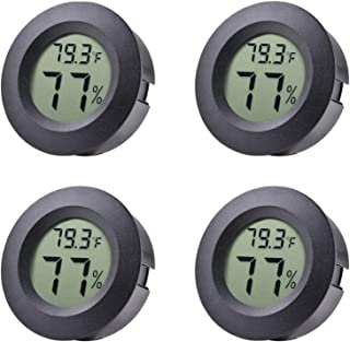 Veanic 4-Pack Mini Hygrometer Thermometer Fahrenheit or Celsius Meter Digital LCD Monitor Indoor Room Round Humidity Temperature Gauge for Humidors Home Greenhouse Babyroom Reptile Incubator
