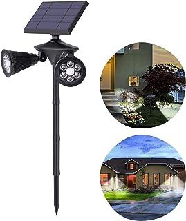 Luz Solar Exterior Jardín 12 LED Foco Solar con Sensor de