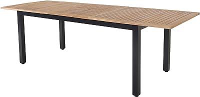 Chicreat - Mesa extensible con estructura de aluminio y tablero de acacia, certificado FSC, 180-240 x 90 x 74-76, 5 cm: Amazon.es: Jardín