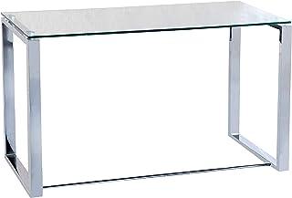 Benetto Mesa de Cristal para Estudio Escritorio Despacho o Oficina Acabado en Cristal y Cromo Medidas: 100 cm (Largo)...
