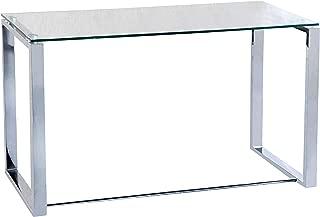 Adec - Mesa de estudio Benetto XL, mesa despacho de cristal transparente y patas color cromo, medidas: 120 x 60 x 72 cm de altura