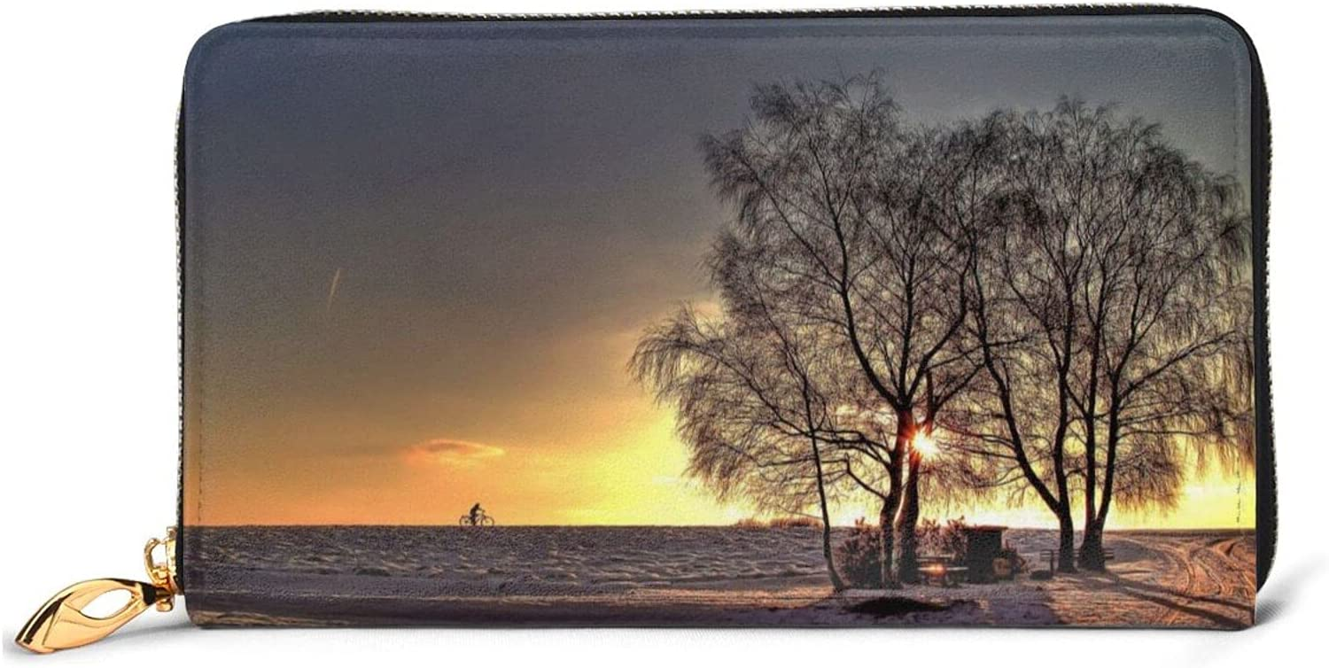 Sunset Leather Wallet Women Long Zip Bag Clutch Purse Around OFFicial Max 86% OFF shop Tra