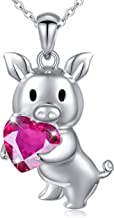 Girlfriend Birthday Gifts 925 Sterling Silver Cute Animal Jewelry Cubic Zirconia Love Heart Pendant Necklace for Women Girls, 18