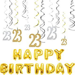 MAGJUCHE 23th Birthday Decorations Kit-Gold Silver Glitter Happy 23 years old Birthday Banner & Sparkling Celebration Hanging Swirls, Party Supplies