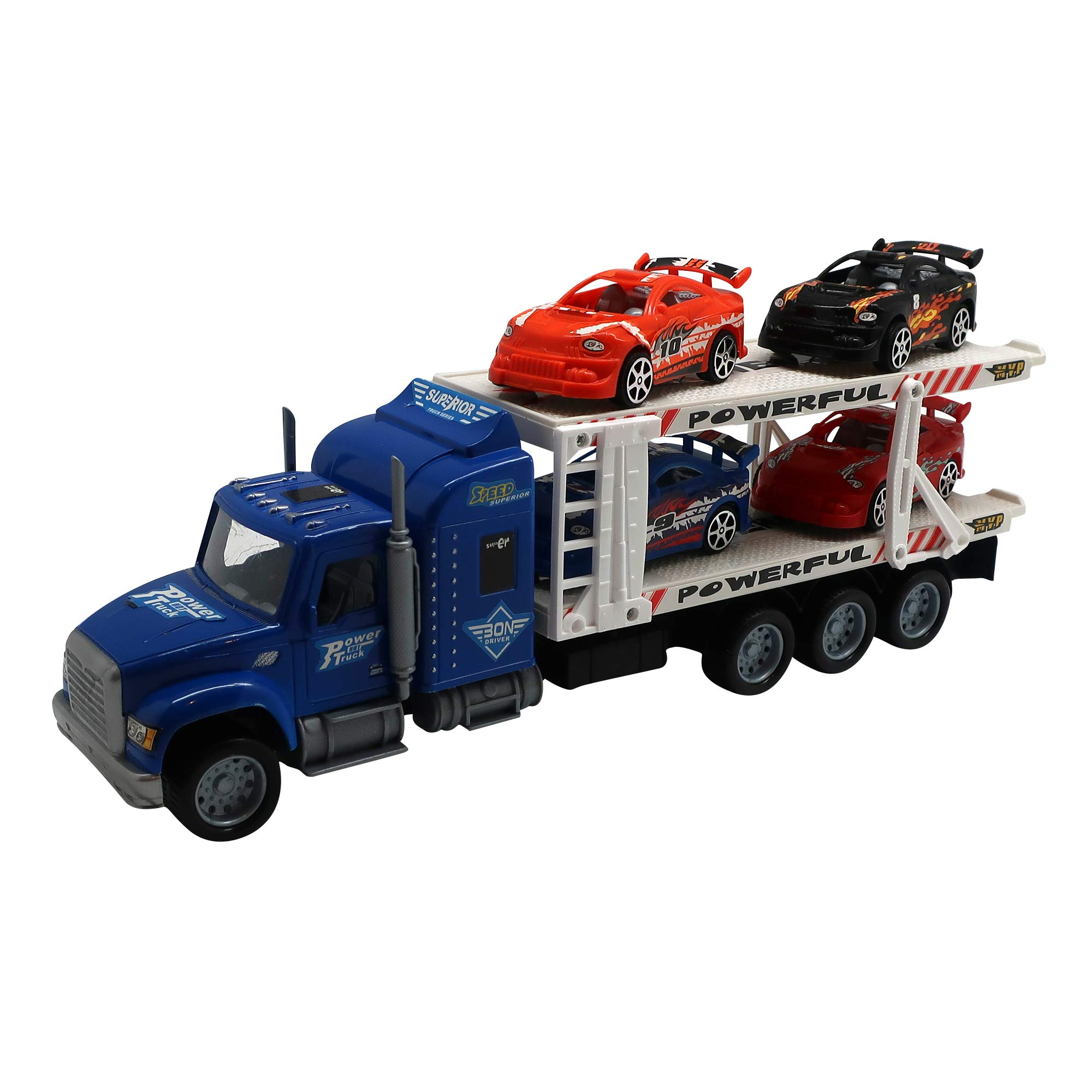 Includes 4 Mini Cars Car Carrier Truck Toy with Realistic Features Great Birthday for Boys 5 Years Old Made from Quality Materials Forest /& Twelfth Kids Transporter Truck