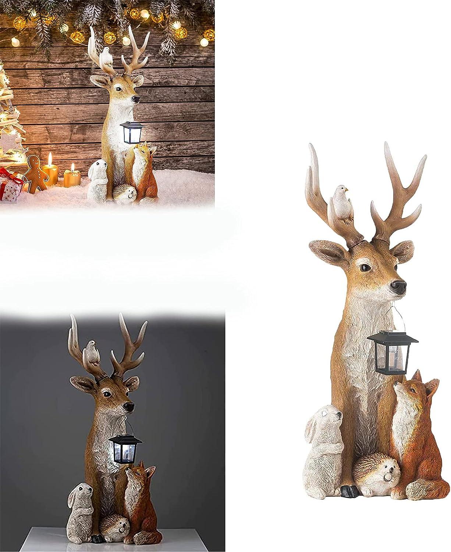 SANNIANER Deer and Friends Statues Solar Lights 2021 Resin Ranking TOP16 Statu