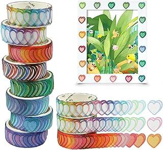 Washi Tape, 8 Rolls Coeur Washi Tape Stickers, 800 Pièces Autocollants en Forme de Coeur 14mm Largeur Ruban Adhésif Papier...