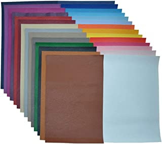 Faux Leather Sheets for Earrings- 30 Pieces A5 Size 8 x 6 Inch(21 x 15 cm) Solid Color Litchi Grain Texture Faux Leather Fabric Sheets Cotton Back for Hair Bows, Headband, Wallet Making