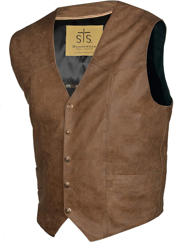 STS Ranchwear Men's Lightweight Classic Leather Vest (