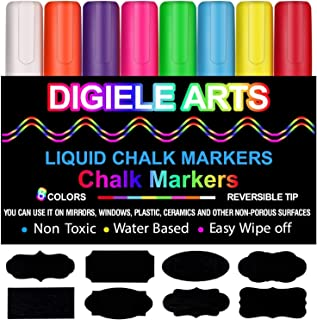 Rotuladores de tiza líquida, DIGIELE 8 colores llamativos con 32 etiquetas reutilizables, punta reversible de 6 mm, borrado en seco o húmedo, para pizarras, restaurantes, ventanas o vidrio