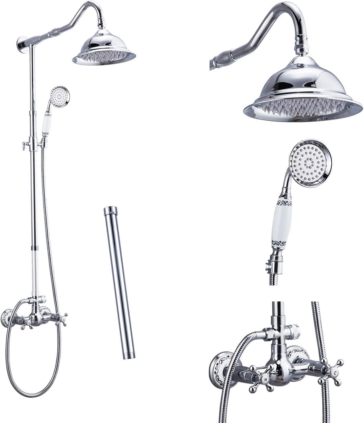 Polish Chrome Shower System Fixture Set Complete 200 Rain Shower 20 Double  Knobs Handle Dual Function Shower Faucet Combo Unit Set 200 Inch Extension