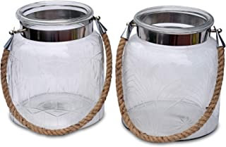 2 Piece Heritage Farm House Hurricane Candle Lantern Set, Rustic Clear Glass, Etched Patterns, Metal Clad with Natural Rope Handle, 7 1/2 D x 9 H Inches