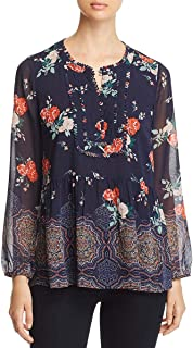 Womens Floral Ruffled Henley Top