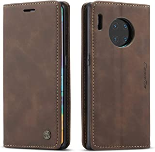 For Huawei Mate 30 Pro Dark Brown Leather Magnetic Flip Wallet Case Cover