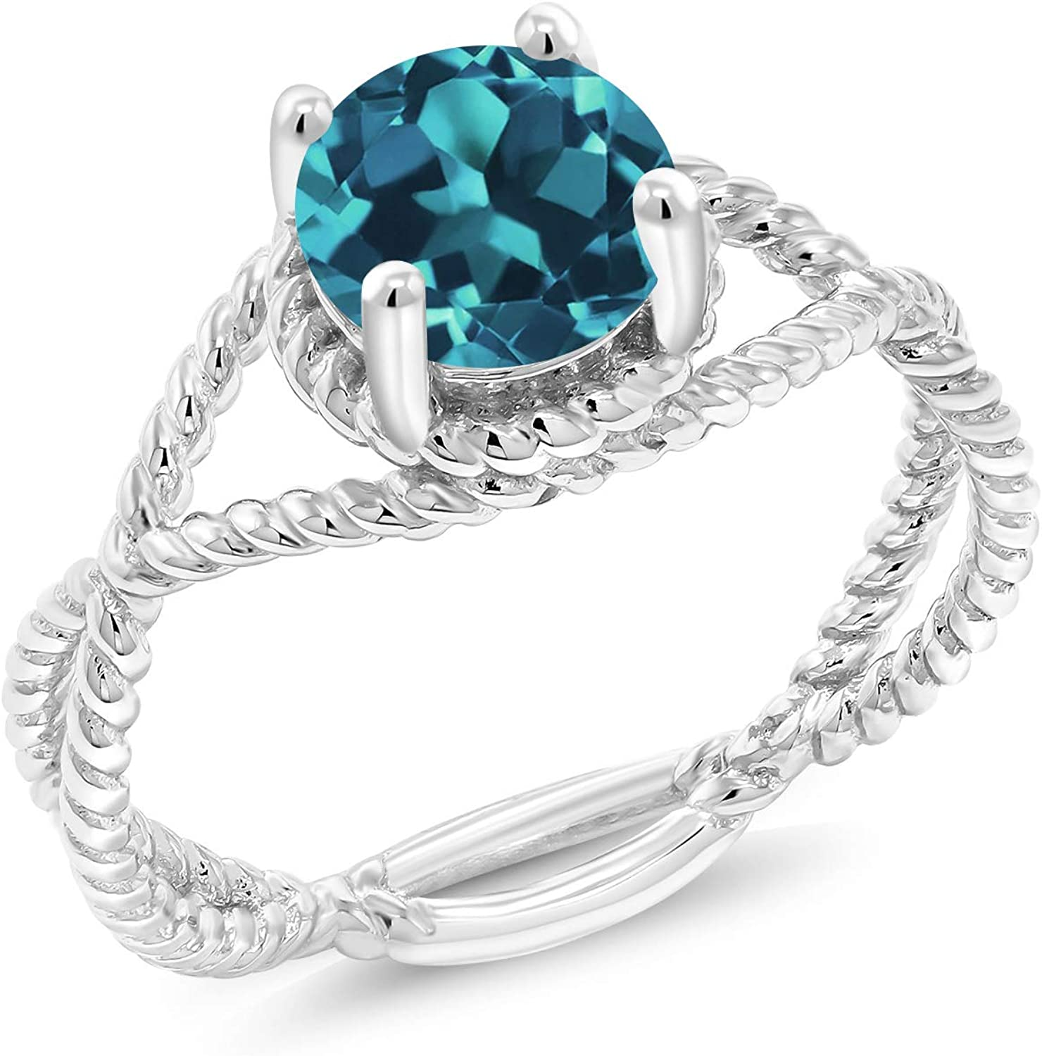 OFFicial mail order Gem Stone King 925 Sterling Silver Ring London Women Topaz Portland Mall Blue