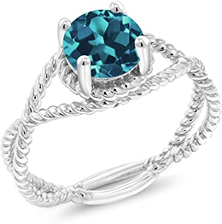Gem Stone King 925 Sterling Silver London Blue Topaz Women Ring (1.70 Ct Round Cut, Gemstone Birthstoneת Available in size...