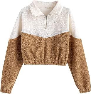 Women's Color Block Drop Shoulder Half Zip Teddy Hoodie Cropped Pullover Sweatshirts
