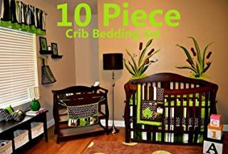 Nursery Crib Bedding Set, Frog Crib Bedding Set, 10 Count with Quilt, Bumper,Sheet,Crib Skirt,Toy Bag,Daiper Stacker/Organizer,Window Valances,Pillows(Green,Brown,Lime Green,White)