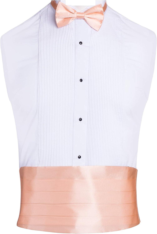 Classy Peach SILK Cummerbund and Bow Tie Set with Box