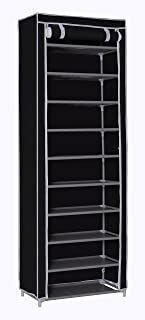 """MULSH Shoe Rack Shoe Storage Organizer 10-Tier Shoes Case Unit with Dustproof Non-Woven Fabric Cover 30 Pairs Shoe Tower Standing Storage Organizer in Black,24.2""""W x 12.4"""" D x 68.3""""H (Black)"""