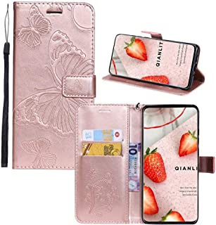 K40 PU Leather Wallet Case,IVY [3D Embossed Butterfly] Phone Accessories Wallet Folio Cover for LG K40/K12 Plus/X4 - Rose Gold