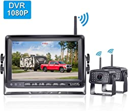 AMTIFO A9 FHD 1080P Digital Wireless 2 Backup Cameras with 7'' DVR Monitor for RVs,Trailers,Motorhomes,Campers, High-Speed Observation System Support Split/Quard Screen