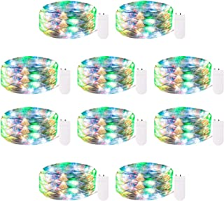 10 Pack Fairy String Lights, 6.5ft 20 Micro LED Starry String Lights on Flexible Silver Wire, Battery Powered Mini Firefly Lights for Christmas Tree DIY Wedding Bedroom, Multicolored