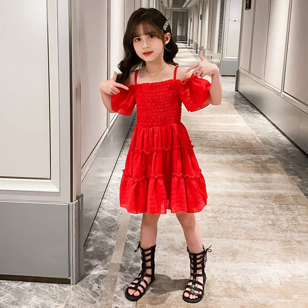 Kids Girls Children Sunmer Off Shoulder Strap Ruched Solid Princess Dresses Clothes for 2-13 Years