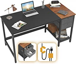 Cubiker Computer Home Office Desk, Small Desk with Drawers 47 inch Study Writing Table, Modern Simple PC Desk, Black and E...
