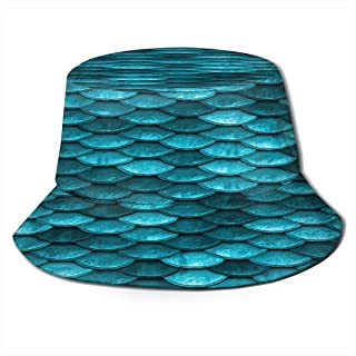 Fisherman Hat Blue Mermaid Fish Scales Sun Hat Women Men Eye Protect Breathable Bonnie Cap 3D Printed Beach Hat Durable&Reversible for Summer Outdoor
