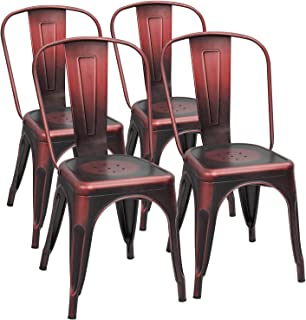 red steel dining chairs