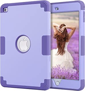 iPad Mini 4 Case,iPad Mini 4 Retina Case,BENTOBEN Anti-Slip Shock-Absorption Silicone High Impact Resistant Hybrid Three Layer Protective Cover for iPad Mini 4(Light Purple & Purple)
