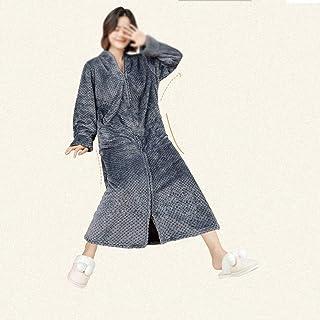 XJJZS Dames automne hiver flanelle hote headdress hotte épaisseur plus chaud et robe de peignoir de peignoir longue fermet...