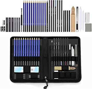 Holahoney 40 Pieces Professional Art Kit-Sketching Drawing Pencil Set in Zippered Travel Case-Charcoal Pencil, Graphite Pe...