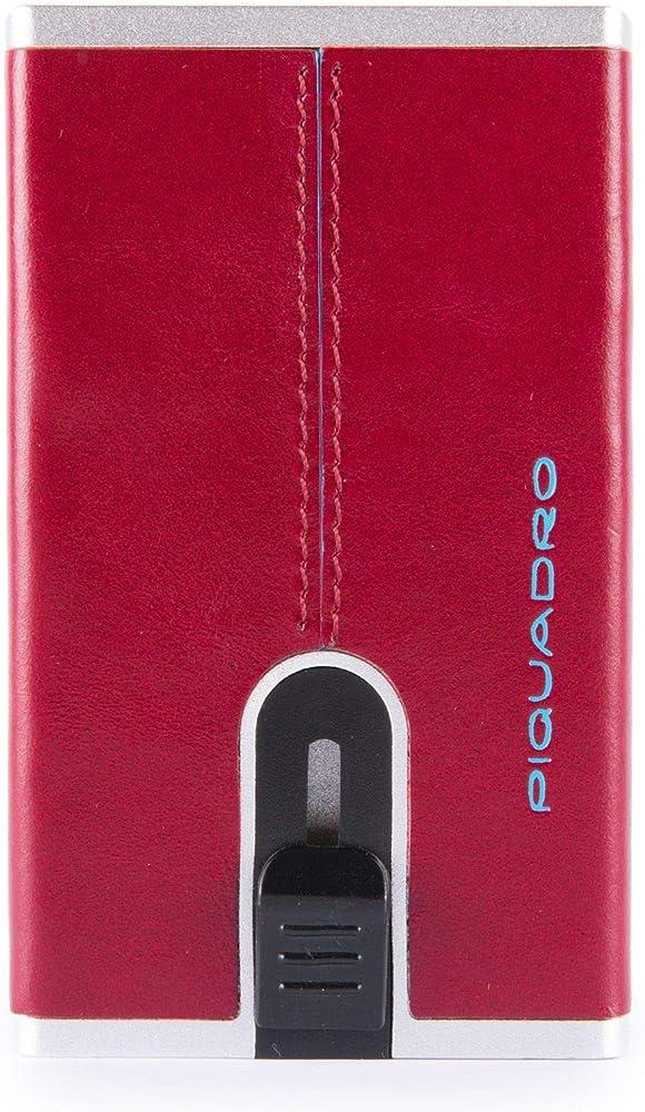 Piquadro, portacarte di credito compatto, portafoglio unisex, in metallo e pelle, con protezione rfid PP4891B2R--1