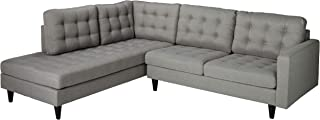 Modway Empress Mid-Century Modern Upholstered Fabric Left-Facing Sectional Sofa in Light Gray