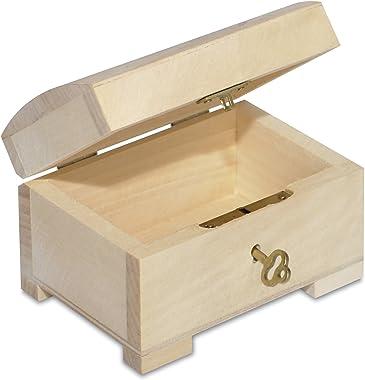 Creative Deco Petite Boîte en Bois avec Fermeture à Clé | 10,6 x 7,5 x 7,5 cm | Clé Incluse | Coffret à Décorer | Parfait pou