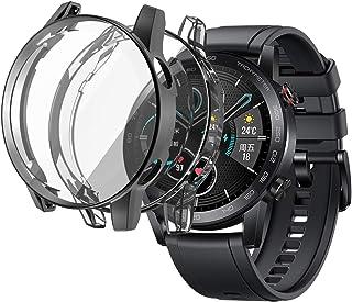 sciuU Skyddsfodral kompatibelt med Honor Magic 2 46 mm, [2-pack] flexibelt TPU-fodral med skärmskydd, mjuk ram stötdämpand...