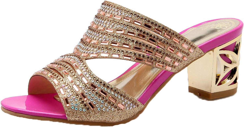 Rhinestone Mule Sandals for Women Comfort Peep Toe Slip On Chunky Mid Heels Slide Sandals