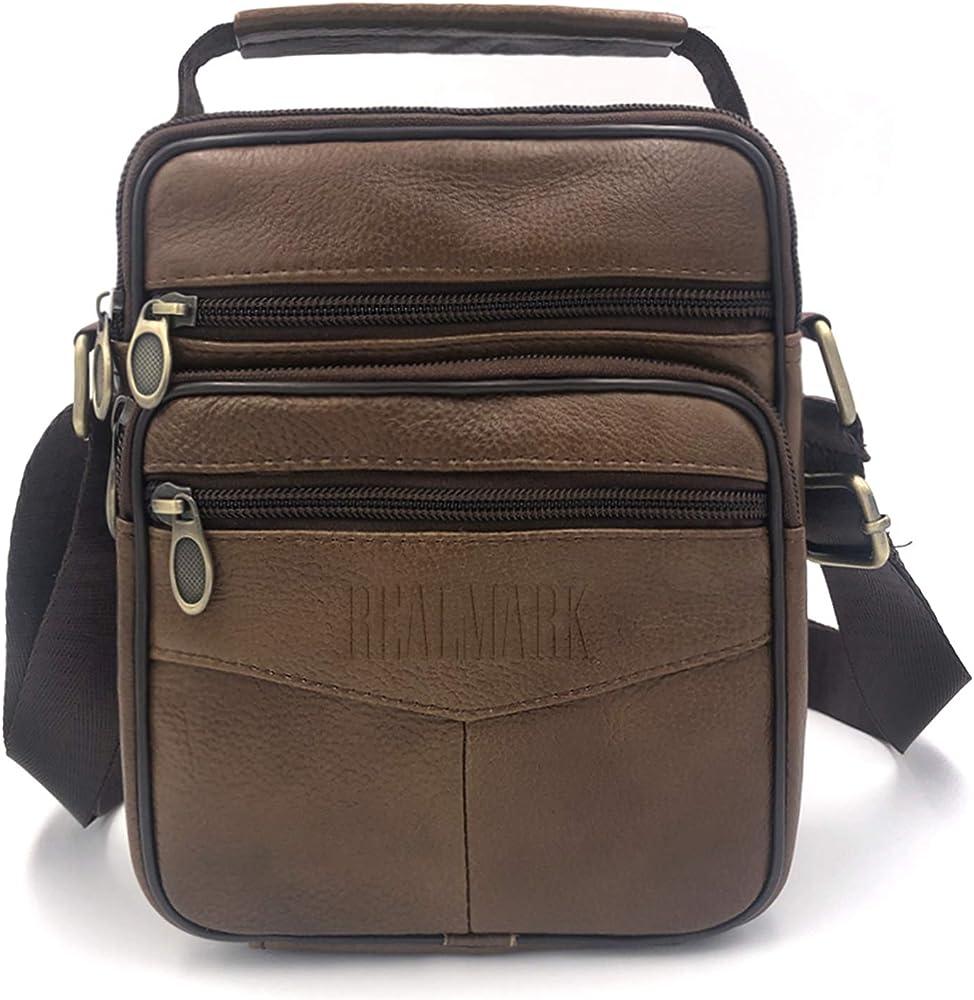 Realmark, borsello per uomo a tracolla, in vera  pelle Realmark063