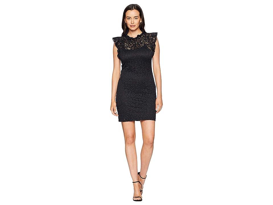 Image of ALEXIA ADMOR Cap Sleeve Lace Sheath (Black Caviar) Women's Dress