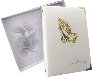 "in Memory Funeral Guest Book, Visitor Registration, Memorial & Condolence Book, Ivory, ""Praying Hands"" 7.25x10 Inches, Brass Ring Binder (45) Removable Pages"