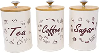 Set of 3 Metal Food Storage Tin With Bamboo Lid for Sugar Tea Coffee Canister Jar Beige (BEIGE)